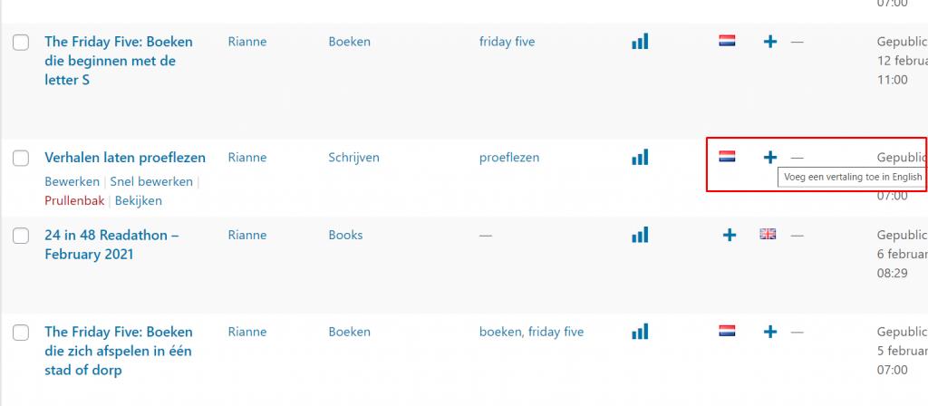 blog toevoegen in een bepaalde taal. In de lijst met alle blogs op een plusje drukken onder de specifieke taal